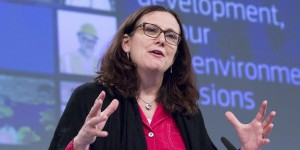 European Trade Commissioner Malmstrom addresses a news conference on the publication of the EU proposal on sustainable development in the negotiations for a TTIP in Brussels