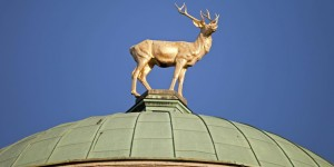 Germany Stuttgart stag figure on dome of art house PUBLICATIONxINxGERxSUIxAUTxHUNxONLY PC000056