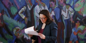 German Labour Minister Nahles reads her files as she attends  the weekly cabinet meeting at the Chancellery in Berlin
