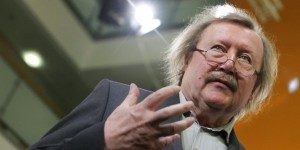 Philosopher Sloterdijk talks after session of Berlin talks at CDU headquarters in Berlin